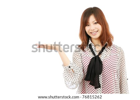 Young japanese woman hand showing blank sign - stock photo