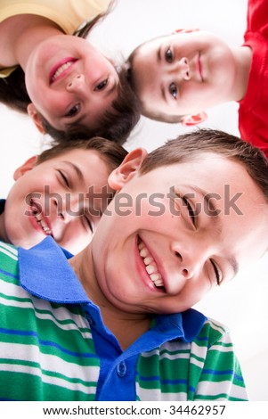 young kids in bright clothes - stock photo