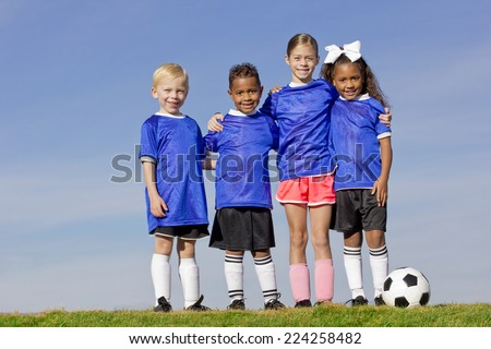 Young Kids on a Soccer Team group photo - stock photo
