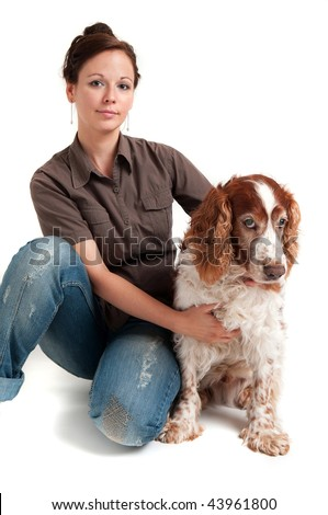 young lady and dog on the white background - stock photo
