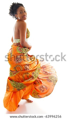 Young lady dancing enjoying the moment - stock photo