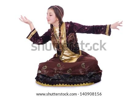 Young lady dancing traditional azeri dance - stock photo