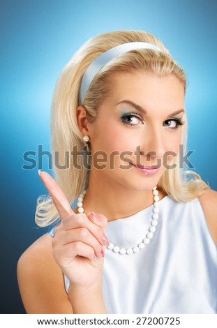 Young lady funny retro portrait - stock photo