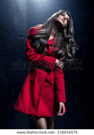 young lady in a fashion pose - stock photo