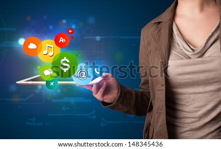 Young lady presenting colorful modern signs - stock photo