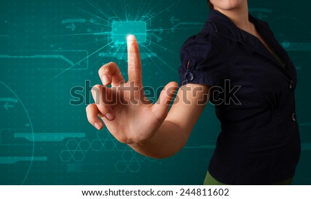 Young lady pressing high tech type of modern buttons - stock photo