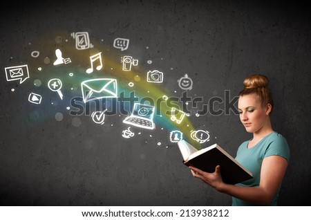 Young lady reading a book with multimedia icons coming out of the book - stock photo
