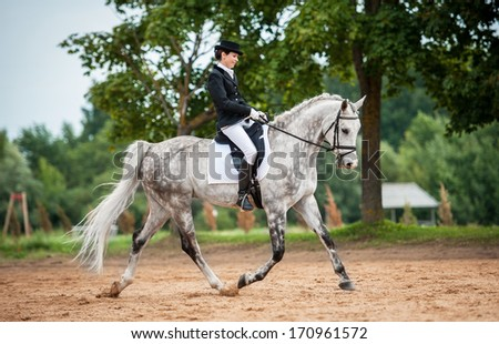Young lady riding white horse in dressage competition - stock photo