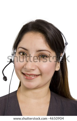 Young lady with a headset