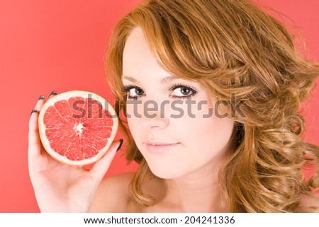 young lady with fruit