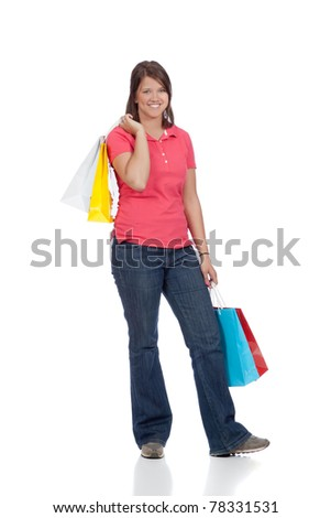 Young Lady with Shopping Bags - stock photo