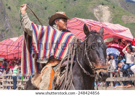 Young Latin Cowboy Riding A Horse, The Most Impressive And Affordable Horse Rides In Ecuador, South America  - stock photo