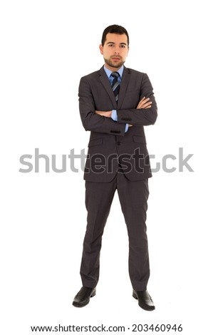 young latin man standing wearing grey suit isolated on white - stock photo