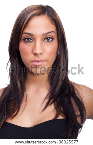 Young latin Woman in a black dress - stock photo