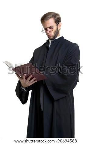 Young lawyer dressed with a toga isolated in white
