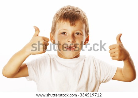 young little boy isolated thumbs up on white gesturing both hands smiling - stock photo