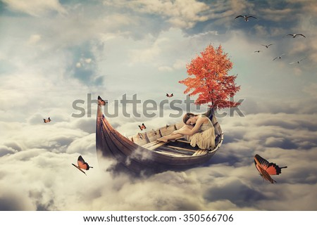 Young lonely beautiful woman drifting on a boat above clouds. Dreamy screensaver with skyline background  - stock photo
