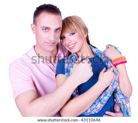 Young love couple have a romance . Over white background