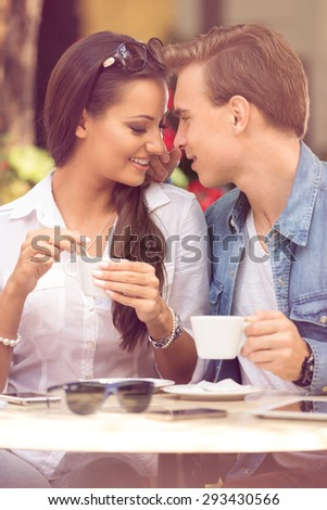 young loving couple having romantic dating at cafe  - stock photo