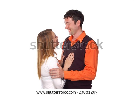 young loving teen couple embracing