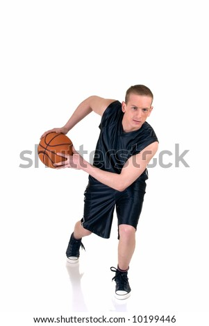 Young male basketball player, studio shot, reflective surface