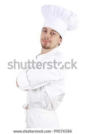 young male cook with white uniform and hat, white background