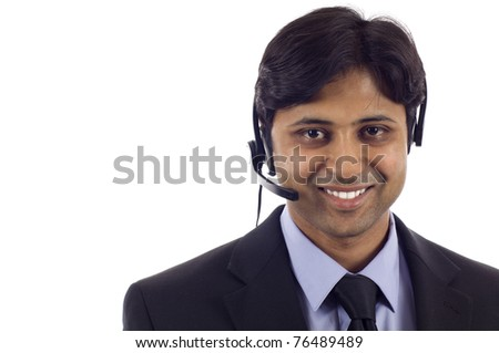 Young male customer service operator - stock photo
