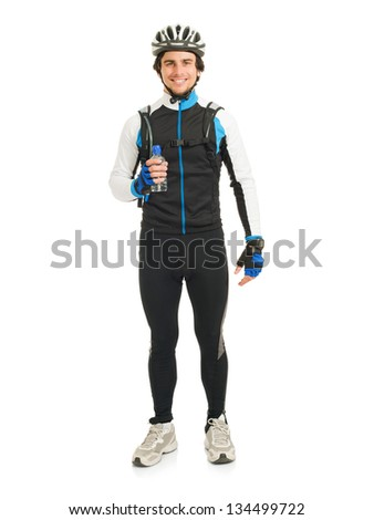 Young Male Cyclist Holding Bottle Isolated On White Background - stock photo