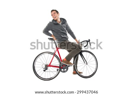 Young Male Cyclist On Bicycle Isolated Over White Background - stock photo