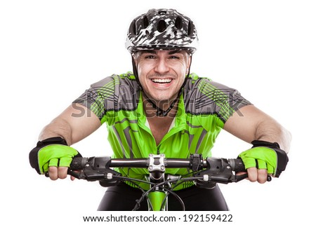 Young Male Cyclist With His Bicycle on race Isolated On White Background - stock photo