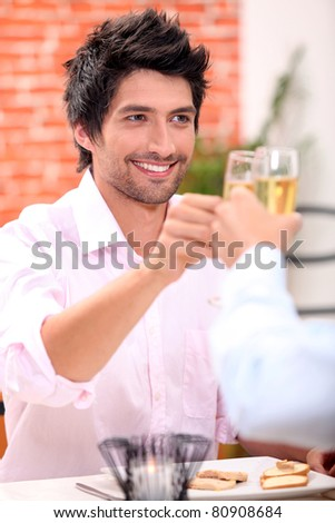 Young male dining - stock photo