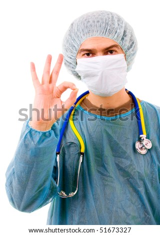 young male doctor giving OK sign with his hand, isolated on a white - stock photo