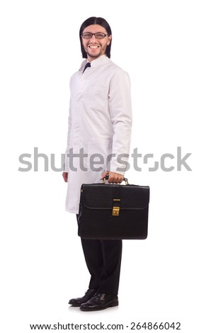 Young male doctor isolated on white - stock photo