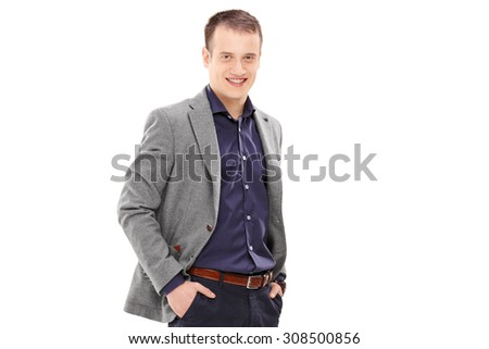 Young male fashion model posing isolated on white background - stock photo