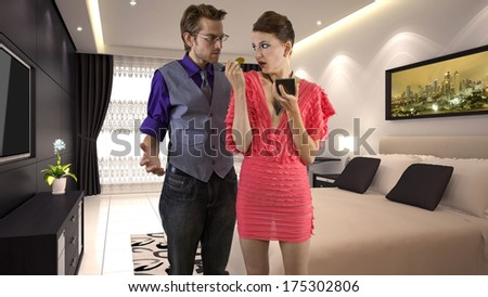 young male is running out of patience waiting for his girlfriend - stock photo