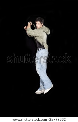 Young Male Jumping - stock photo