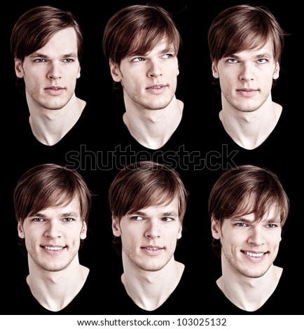 young male model with long hair - different expressions - stock photo