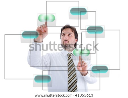 Young male person pressing digital buttons on touchscreen - stock photo