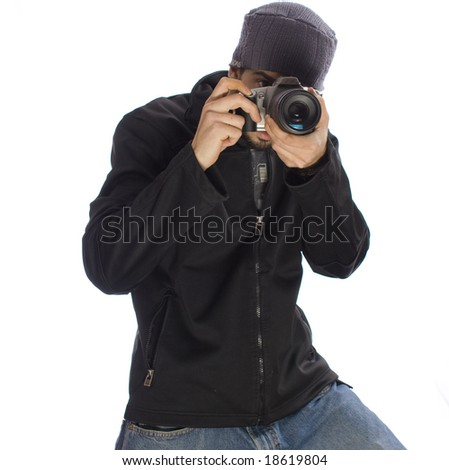Young Male Photographer Taking Pictures