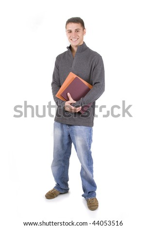 Young male student holding books in casual clothes. - stock photo