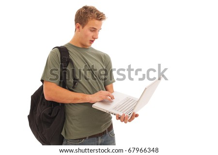 Young male student with laptop