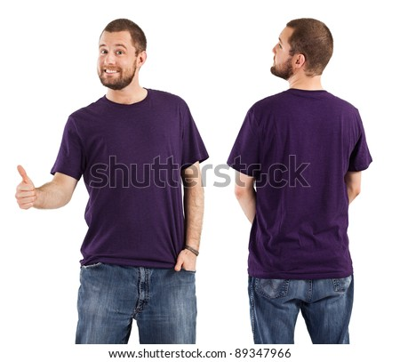 Young male with blank purple t-shirt, front and back. Ready for your design or artwork. - stock photo