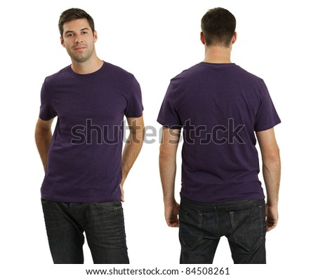 Young male with blank purple t-shirt, front and back. Ready for your design or logo. - stock photo