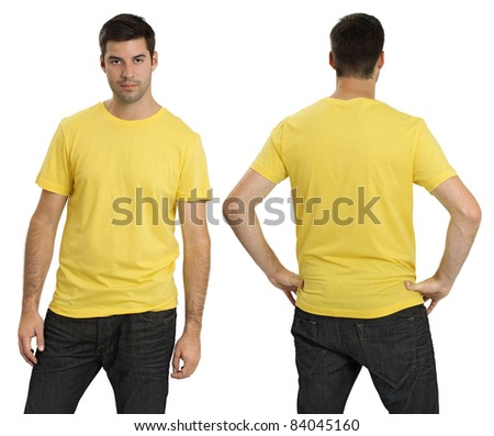 Young male with blank yellow t-shirt, front and back. Ready for your design or logo. - stock photo