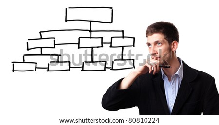 Young man analysing flowchart schema on the whiteboard - stock photo