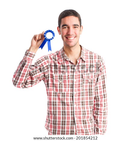 young man and a medal - stock photo
