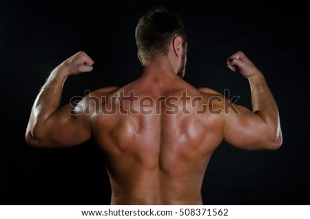 Young man and muscular back.