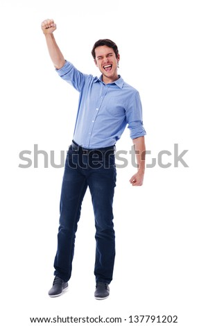 Young man and sign of victory - stock photo
