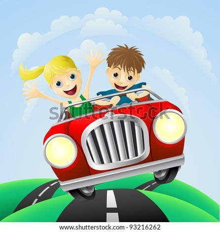 Young man and woman having fun driving their car on a road trip. - stock photo
