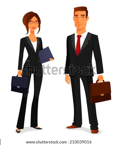 young man and woman in elegant business suit, with briefcase - stock photo